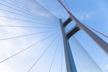 Photo sur Aluminium Pont the cable stayed bridge closeup