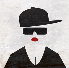 woman with sunglasses on wood grain texture