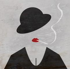 woman smoking on wood grain texture