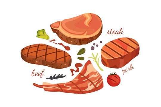 beef steak vector illustration set