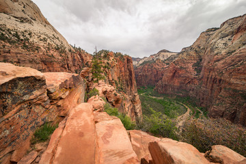 The stunning scenery taken from Angels Landing at Zion National Park in Utah.