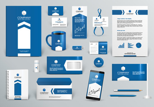 Professional blue branding design kit with arrow for real estate/investment. Premium corporate identity template. Business stationery mock-up. Editable vector illustration: folder, cup, etc.