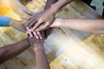 Hand together group office teamwork