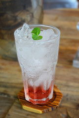 Raspberry soda, soft drink dressing with mint.