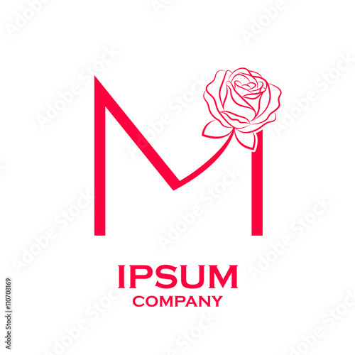 """""""Letter M logo,Rose Flower Red, beauty and fashion logo"""" Stock image and royalty-free vector ..."""