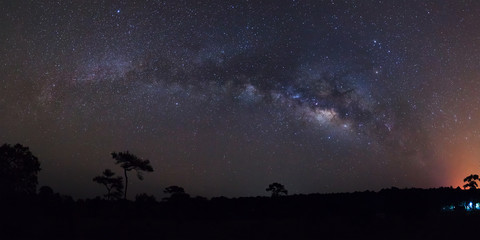 Panorama milky way galaxy at Phu Hin Rong Kla National Park,Phit
