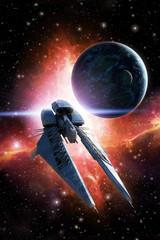 Wall Mural - Spaceship planet and nebula