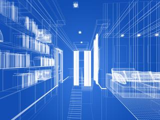 sketch design of living room ,3dwire frame render