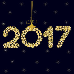 Happy New Year 2017 On A Dark Blue Background With Stars Zero In The Form Of
