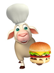Sheep cartoon character with chef hat and burger