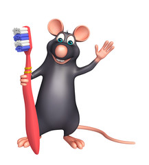 Rat cartoon character with toothbrush