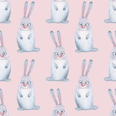 Animal set. Hare in winter. Seamless pattern 4