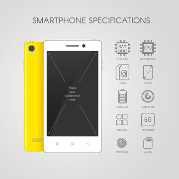 Smartphone specification flat line icons. Gadget descript