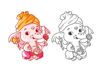 Little cartoon Ganesha. Page for coloring book.