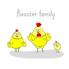 chicken family - rooster, hen, chicken