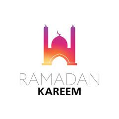 Ramadan Kareem | Ramadan Mubarak | Islamic Symbol Mosque Halfmoon Silhouette | Greeting Poster Design Vector Illustration