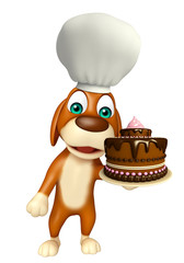 Dog cartoon characte with chef hat and cake