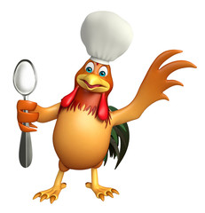 chiken cartoon character with chef hat and spoon