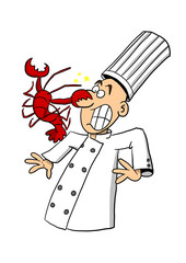 Chef being attacked by lobster