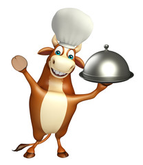 Bull cartoon character with chef hat and cloche