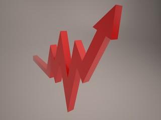 Красная возрастающая диаграмма