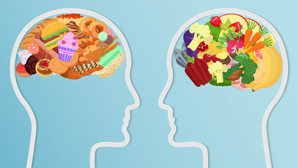 Health and unhealth Food eat in brain. Human head silhouette Diet choice healthy lifestyle concept.