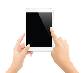 close up hand touching on tablet isolated white clipping path in