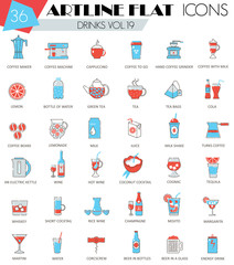 Vector Drinks ultra modern outline artline flat line icons for web and apps.