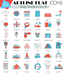 Vector Travel traveling ultra modern outline artline flat line icons for web and apps.