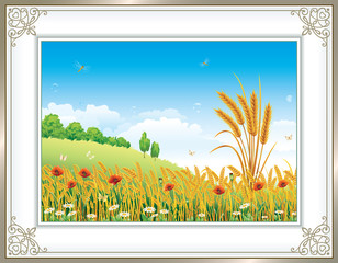 Natural landscape in frame with ornament