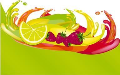 splashes of juice over color background