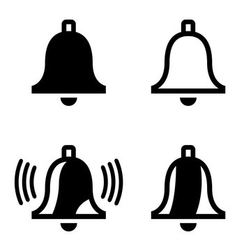 Vector black bell icons set