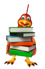 3d rendered illustration of Hen cartoon character with books