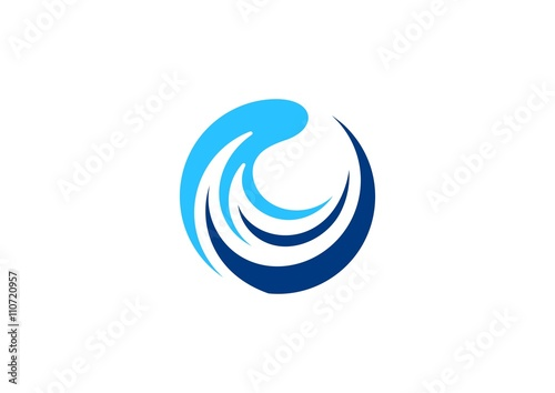 Waves Logo Circle Wave Sphere Symbol Blue Around Water Splash Icon