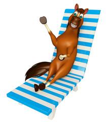 cute Horse cartoon character with beach chair