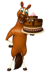 cute Horse cartoon character with cake