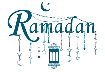 Ramadan text with lantern design