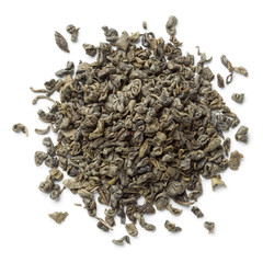 Heap of green gunpowder tea