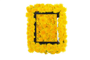 Tablet, golden flowers dandelions on white background. Top view.