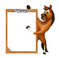 Horse cartoon character with exam pad