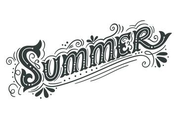 Summer. Hand drawn vintage lettering with floral decoration elem