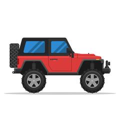 Off-road vehicle isolated on white background