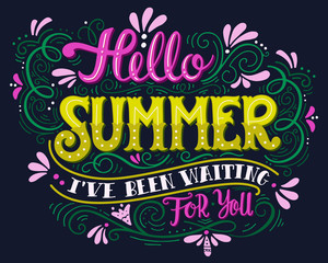 Hello summer. Hand drawn vintage lettering with floral decoratio