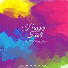 Happy Holi festival of colors greeting background . Vector illustration