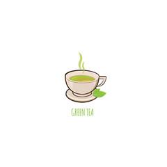 Green Tea cup vector illustration