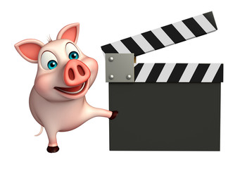 cute  Pig cartoon character with clapboard