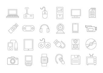 Gadgets & equipment vector icons set