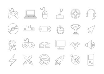 Game vector icons set