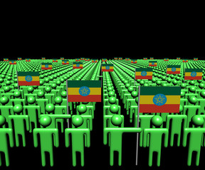 Crowd of abstract people with many Ethiopian flags illustration