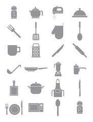 Kitchen items gray vector icons set